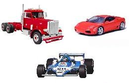 Car, truck and race car models